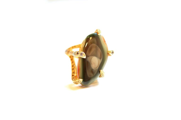 Imperial Ring An unusually shaped imperial jasper set with intertwined tentacles of citrine, grey diamond, peridot, yellow sapphire and yellow diamond, handmade entirely in eighteen-karat yellow gold. Size 7 - adjustable upon request Imperial Jasper