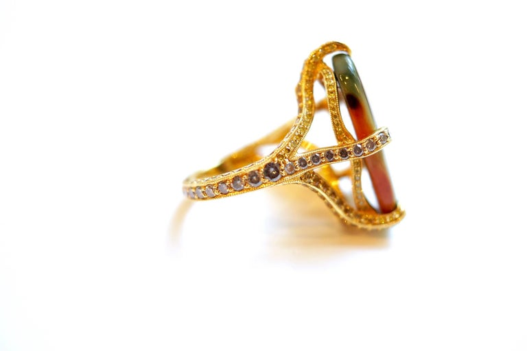 18 Karat Yellow Gold Imperial Jasper, Multicolored Gemstones and Diamond Ring In New Condition For Sale In Great Neck, NY