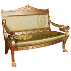 Imperial Lion Sofa with Lion and Wings Brass in Empire Style