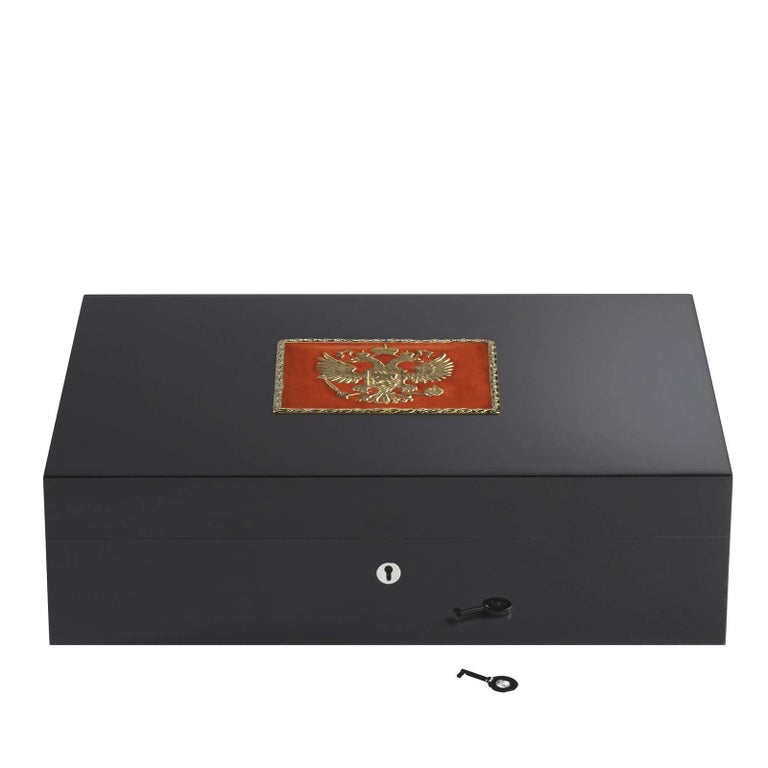 Modern Imperial Red Eagle Humidor for 110 Cigars For Sale