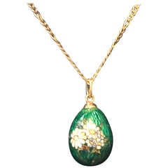 Imperial Russian 14k Green Vibrant Guilloche with Spring Flowers Egg Pendent