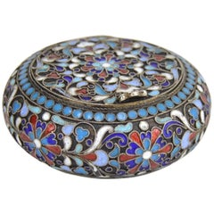 Imperial Russian Cloisonné Enamel and Gilt Silver Box Moscow, 19th Century