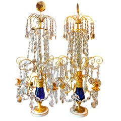 Imperial Russian Crystal Cobalt Blue Glass and Gilt Bronze Girandoles Tsar Era