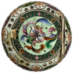 Imperial Russian Polychromed Enameled Cushion Shaped  Solid Silver Pill Box