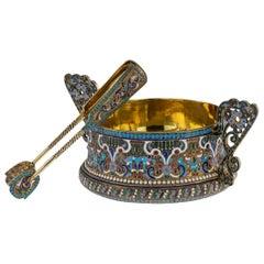 Imperial Russian Silver and Enamel Sugar Bowl & Tongs, circa 1910