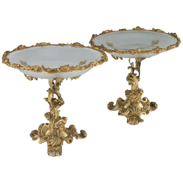 Imperial Russian Silver Gilt and Glass Pair of Tazza, Sazikov, circa 1867