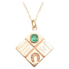 "Imperial Russian ""Sweet Memories Best Rewards"" Emerald Diamond Horseshoe Pendant"