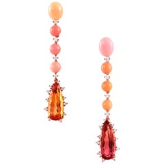 Imperial Topaz and Conch Pearl Drop Earrings