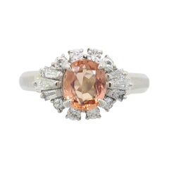 Imperial Topaz and Diamond Cocktail Ring in Platinum