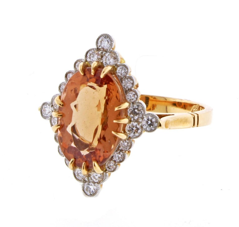 Women's or Men's Imperial topaz and Diamond Ring by Pampillonia For Sale