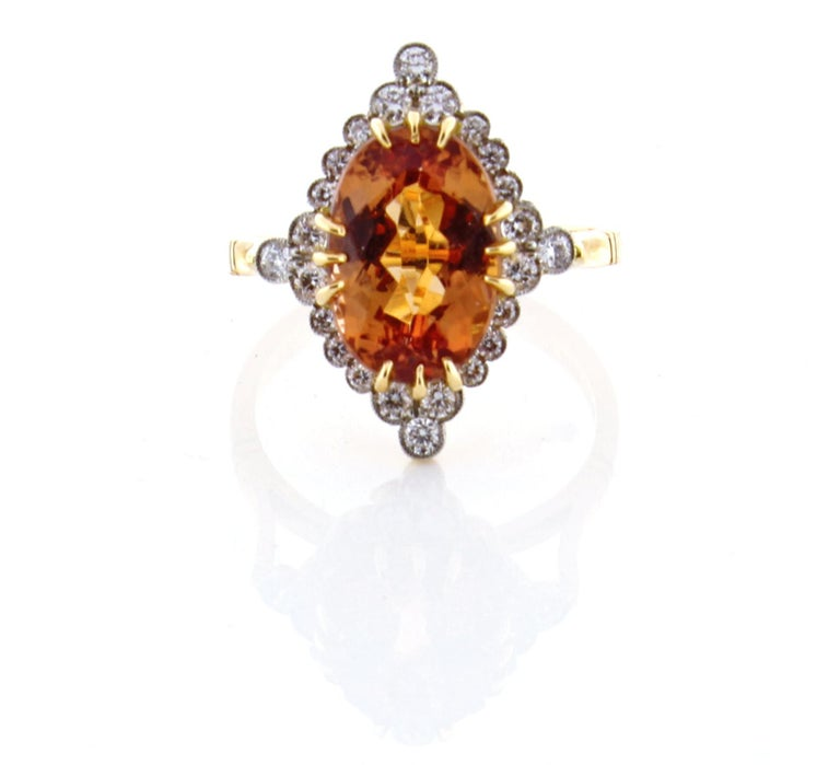 Imperial topaz and Diamond Ring by Pampillonia For Sale 1