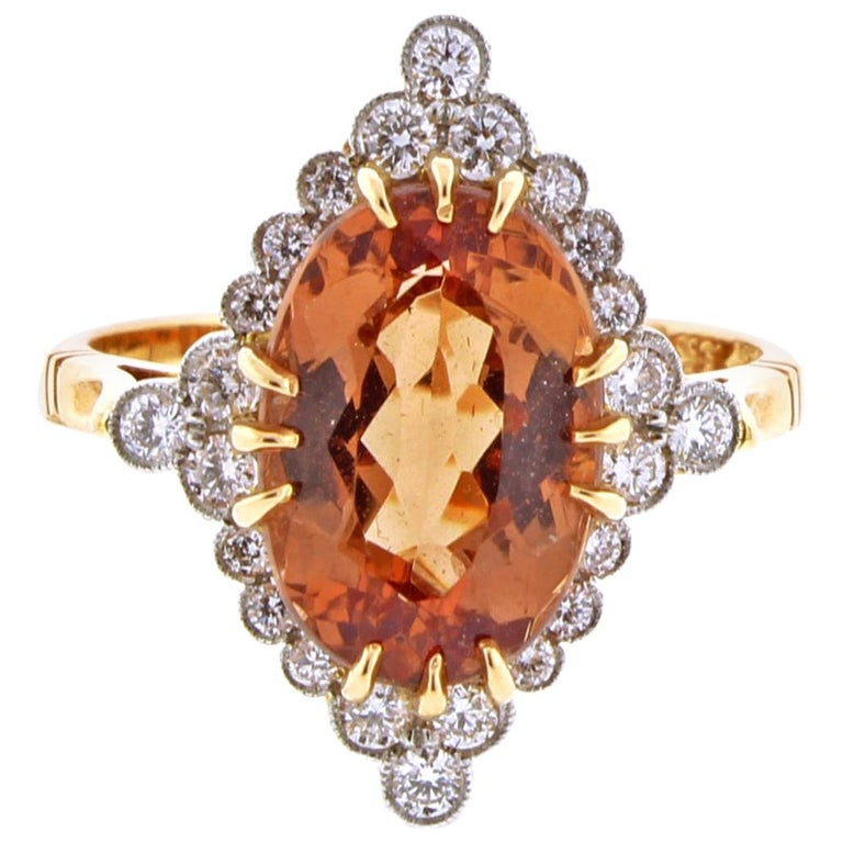 Imperial topaz and Diamond Ring by Pampillonia For Sale