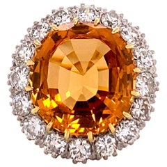 Imperial Topaz and Diamond Ring in 18 Karat Yellow and White Gold