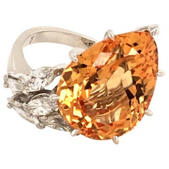 Imperial Topaz and Diamond White Gold 750 Ring