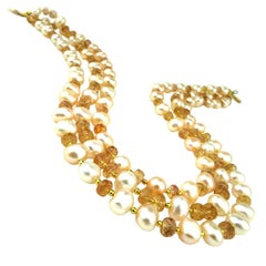 Imperial Topaz and Pearl Multi Strand Necklace