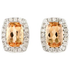 Imperial topaz Diamond 18 Karat Gold Stud Earrings