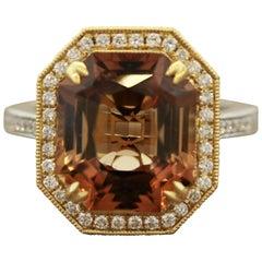 Imperial Topaz Diamond Gold Two-Tone Ring, GIA Certified