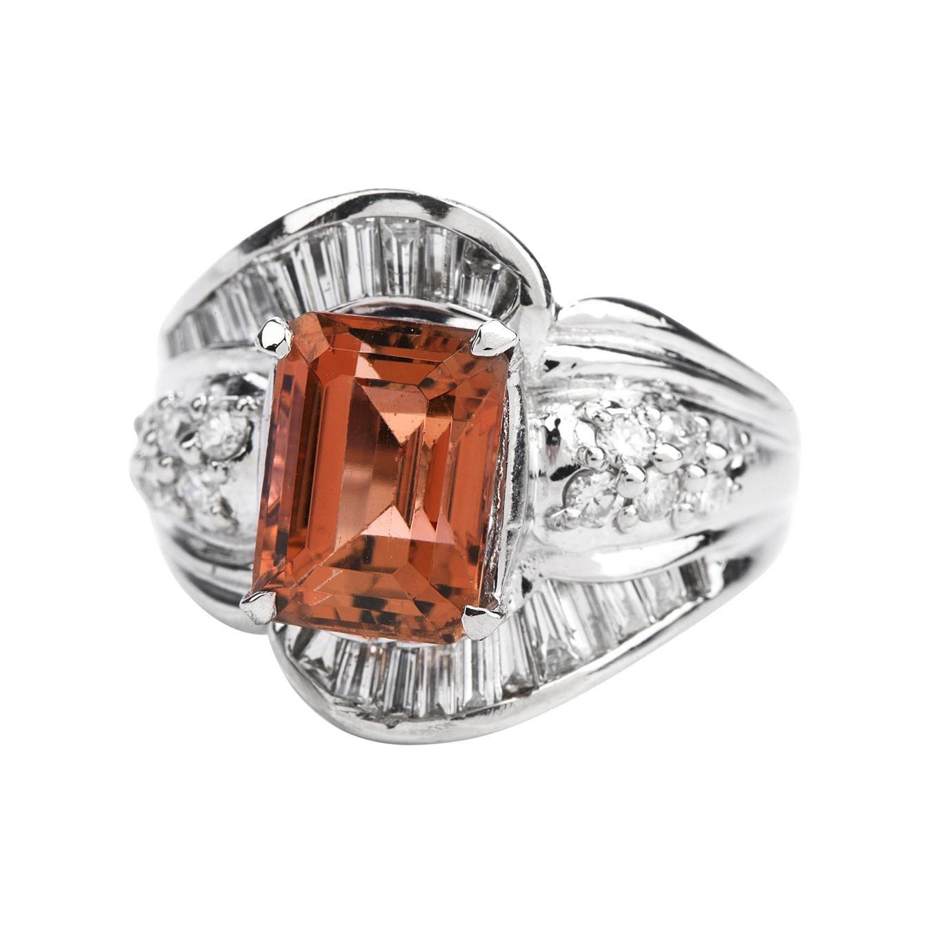 Imperial Topaz Diamond Platinum Cocktail Ring