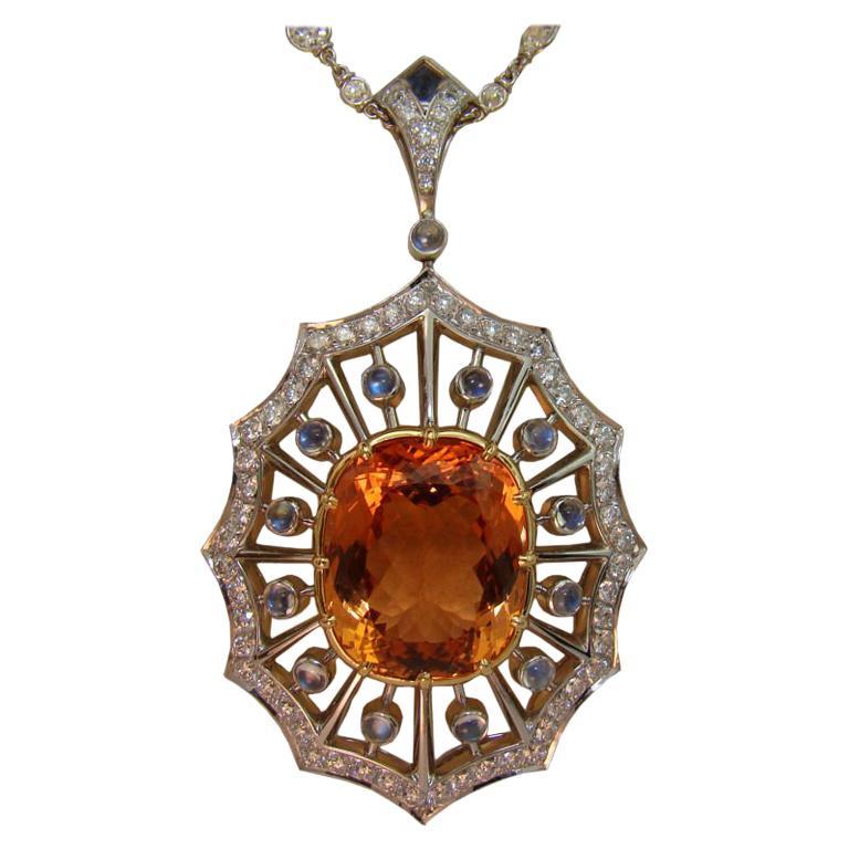 Imperial Topaz, Moonstone, and Diamond Pendant in Platinum For Sale