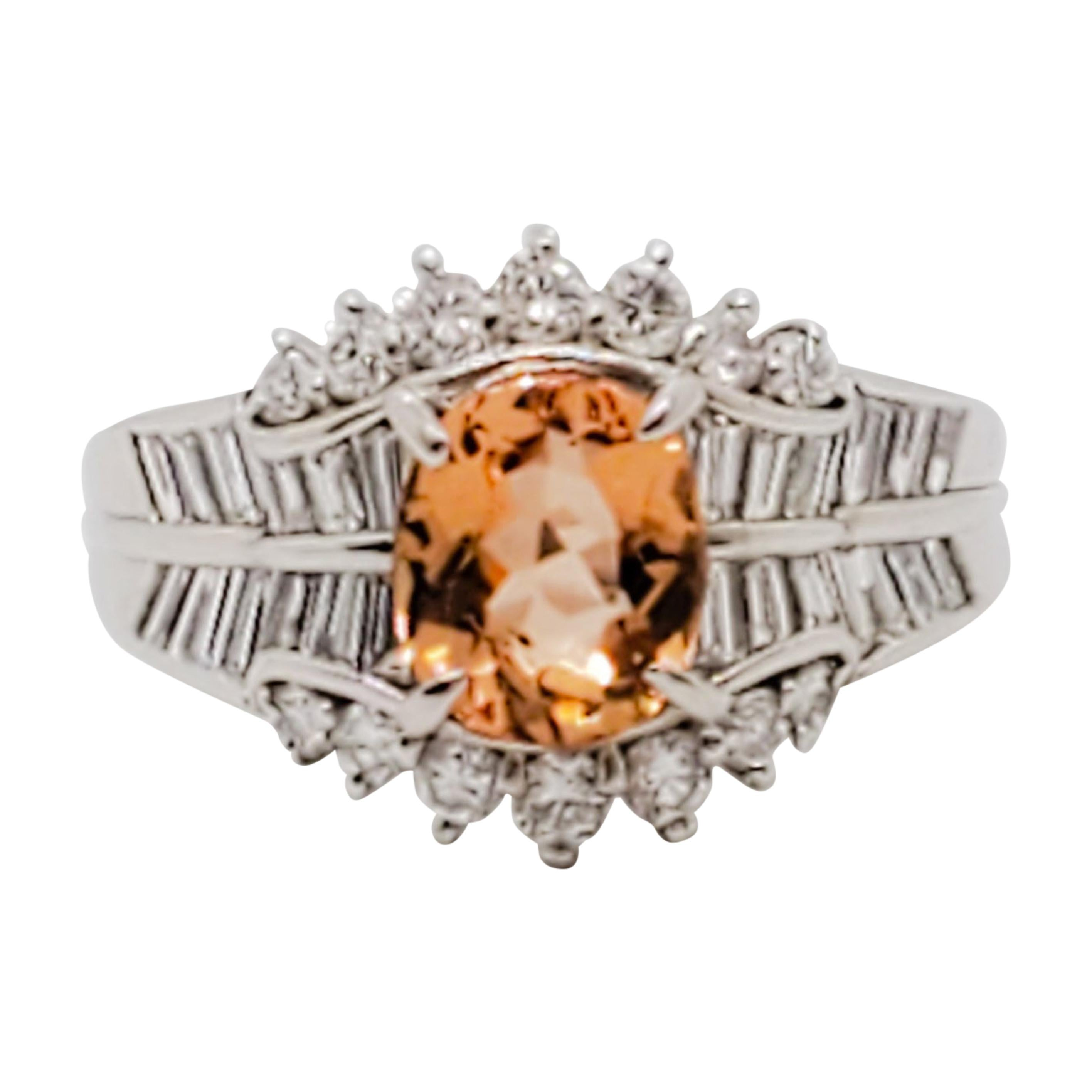 Imperial Topaz Oval and White Diamond Cocktail Ring in Platinum