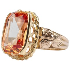 Imperial Topaz Ring 9 Carat Certified Untreated Brazil Unisex
