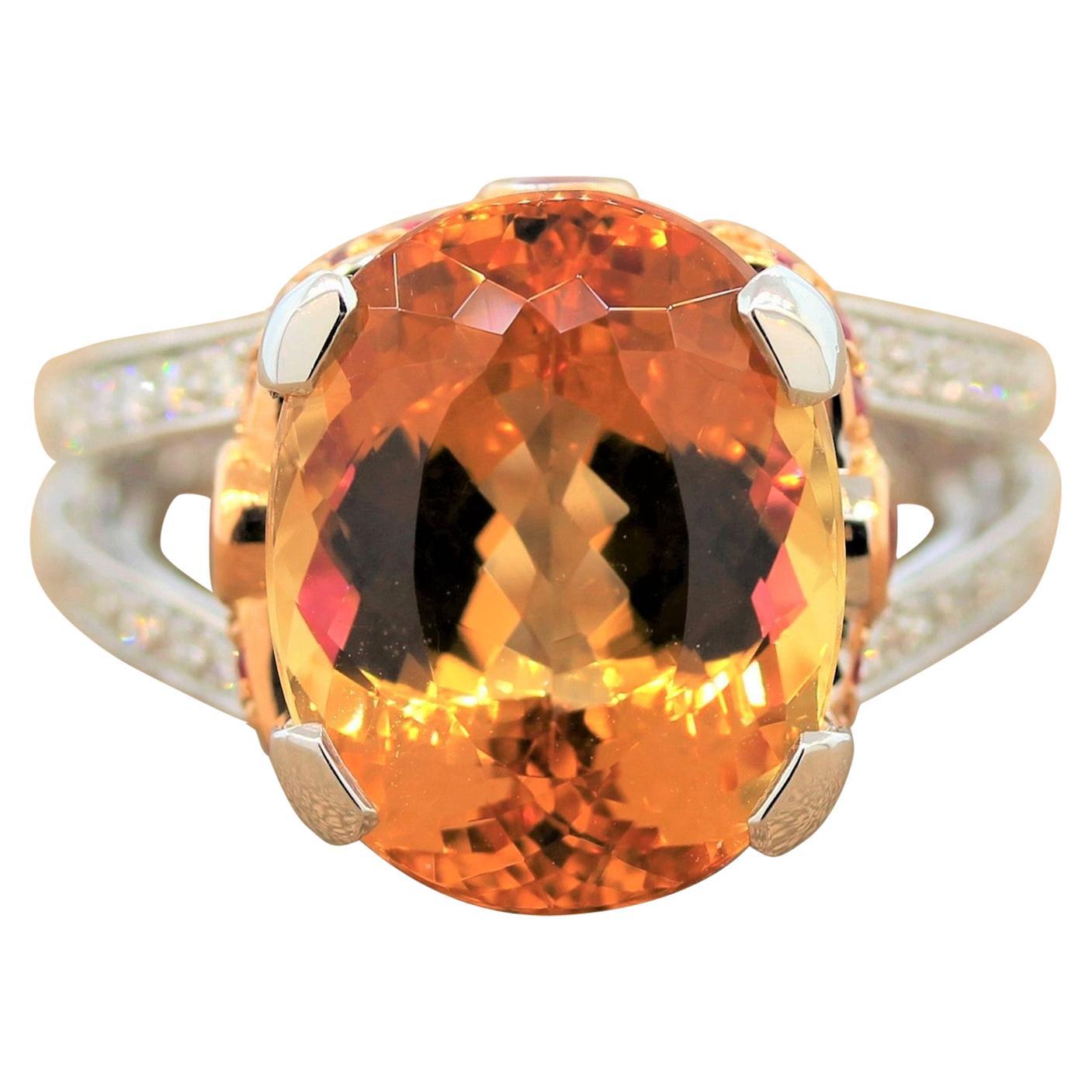 Imperial Topaz Ruby Diamond Platinum Gold Ring