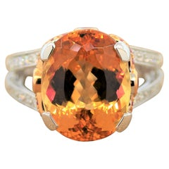 Imperial Topaz Ruby Diamond Platinum Gold Ring