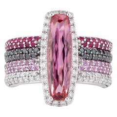 Imperial Topaz Statement Ring with Rubies, Pink Sapphires and Diamonds