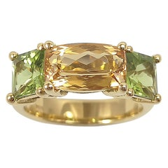 Imperial Topaz with Peridot Ring Set in 18 Karat Gold Settings