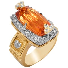 Imperial Topaz Yellow Gold and Diamond Cocktail Ring Stambolian