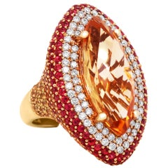 Imperial Topaz Yellow Orange Sapphire Diamond Yellow Gold Cocktail Ring