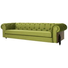Imperial Tufted Sofa with Walnut Side and Back Detail