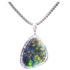 Important 11.92 Carat Australian Black Opal Diamond Platinum Pendant Necklace
