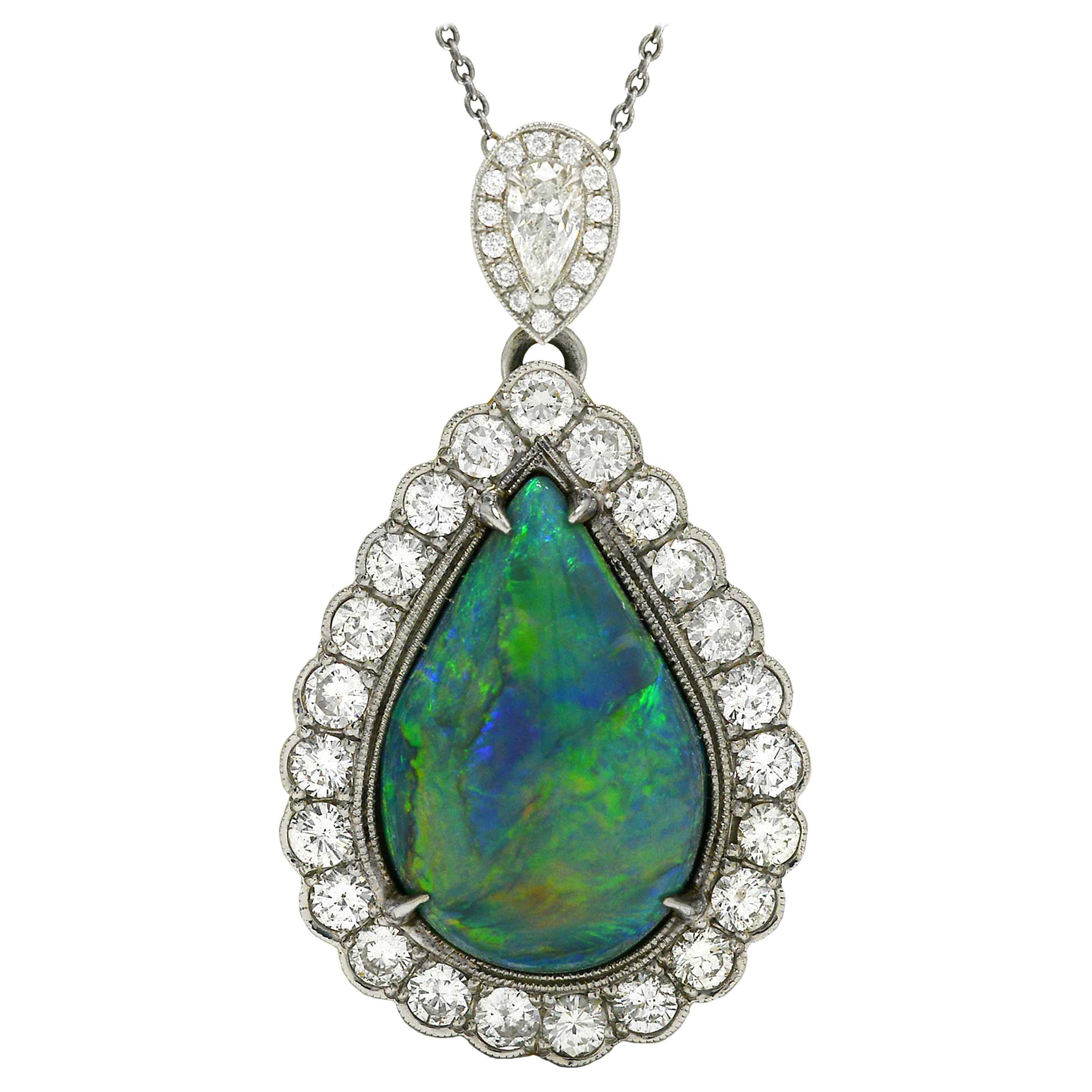Important 16 Carat Black Opal and Diamond Necklace Pendant Australian Pinfire