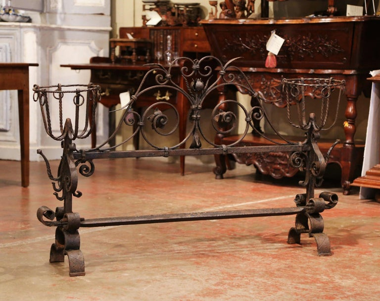 Forged Important 18th Century French Gothic Wrought Iron Fireplace Screen with Landiers
