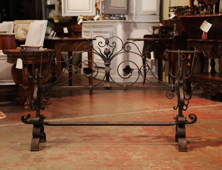 Mid-18th Century Important 18th Century French Gothic Wrought Iron Fireplace Screen with Landiers