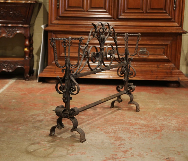 Important 18th Century French Gothic Wrought Iron Fireplace Screen with Landiers 2