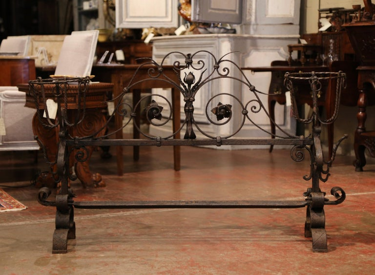 Important 18th Century French Gothic Wrought Iron Fireplace Screen with Landiers 3