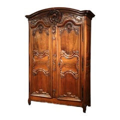 Important 18th Century French Louis XV Carved Walnut Two-Door Armoire from Lyon