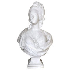 Important 18th Century French Marble Bust of Marie Antoinette After F. Lecomte