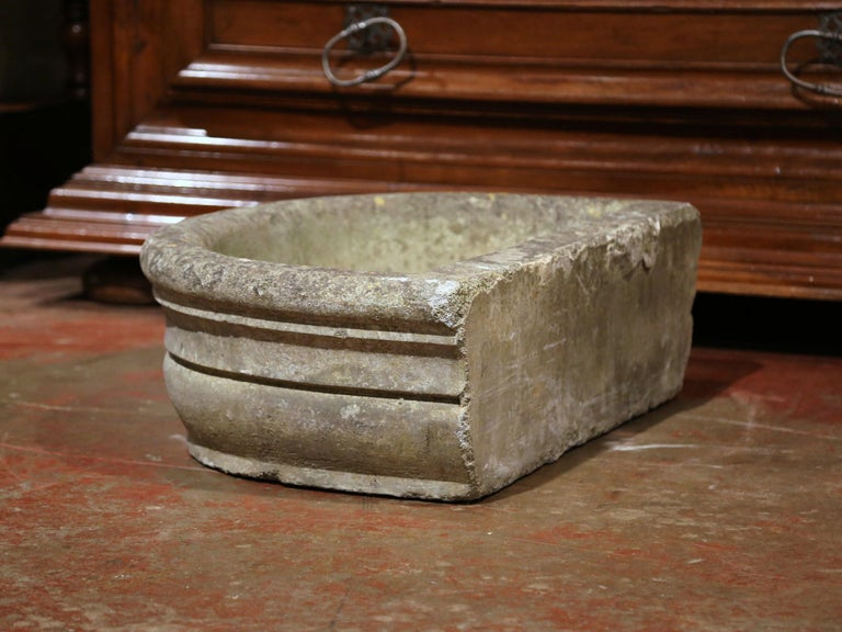 18th Century French Weathered Demilune Stone Garden Jardinière For Sale 3