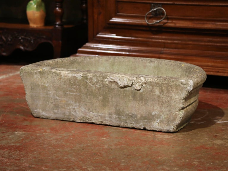 18th Century French Weathered Demilune Stone Garden Jardinière For Sale 5