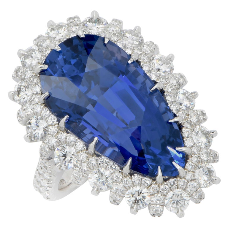 Modern Important 19 Carat AGL Graded Pear Shaped Sapphire and Diamond Ring For Sale