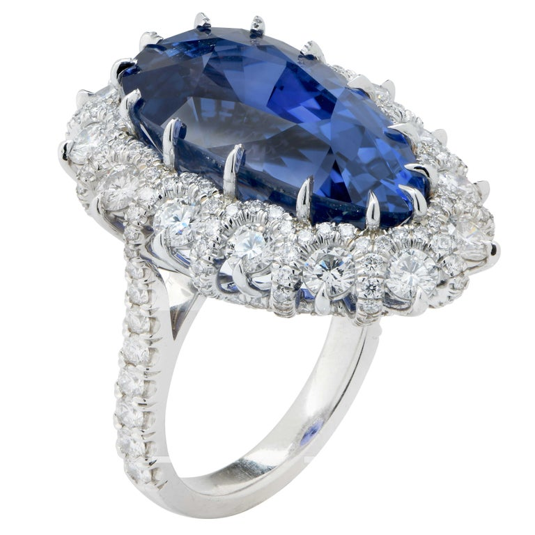 Pear Cut Important 19 Carat AGL Graded Pear Shaped Sapphire and Diamond Ring For Sale