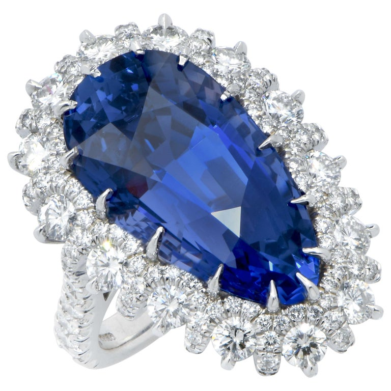 Important 19 Carat AGL Graded Pear Shaped Sapphire and Diamond Ring For Sale