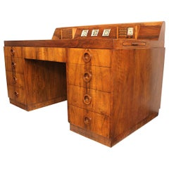 Important 1939 Circassian Walnut Art Deco Moderne Desk by Alexis De Sakhnoffsky