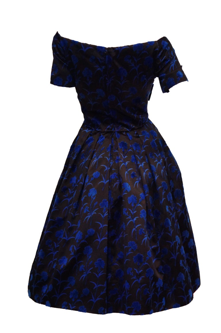 Important 1950s Christian Dior Couture Blue & Black Silk & Velvet New Look Dress For Sale 1