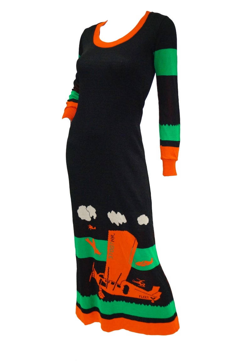 Black Important 1970s Sant Angelo Biplane Intarsia Knit Maxi Dress - Iconic For Sale