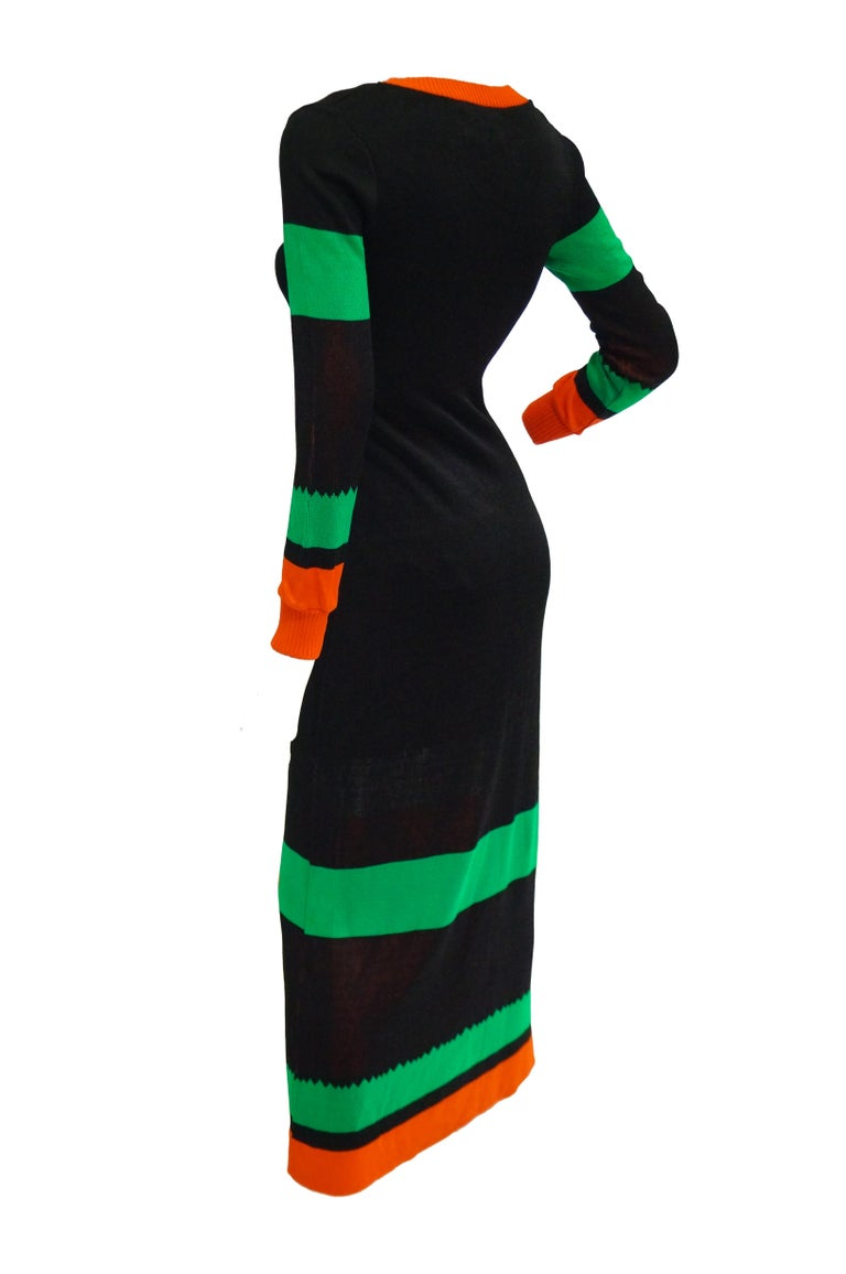 Important 1970s Sant Angelo Biplane Intarsia Knit Maxi Dress - Iconic In Excellent Condition For Sale In Houston, TX