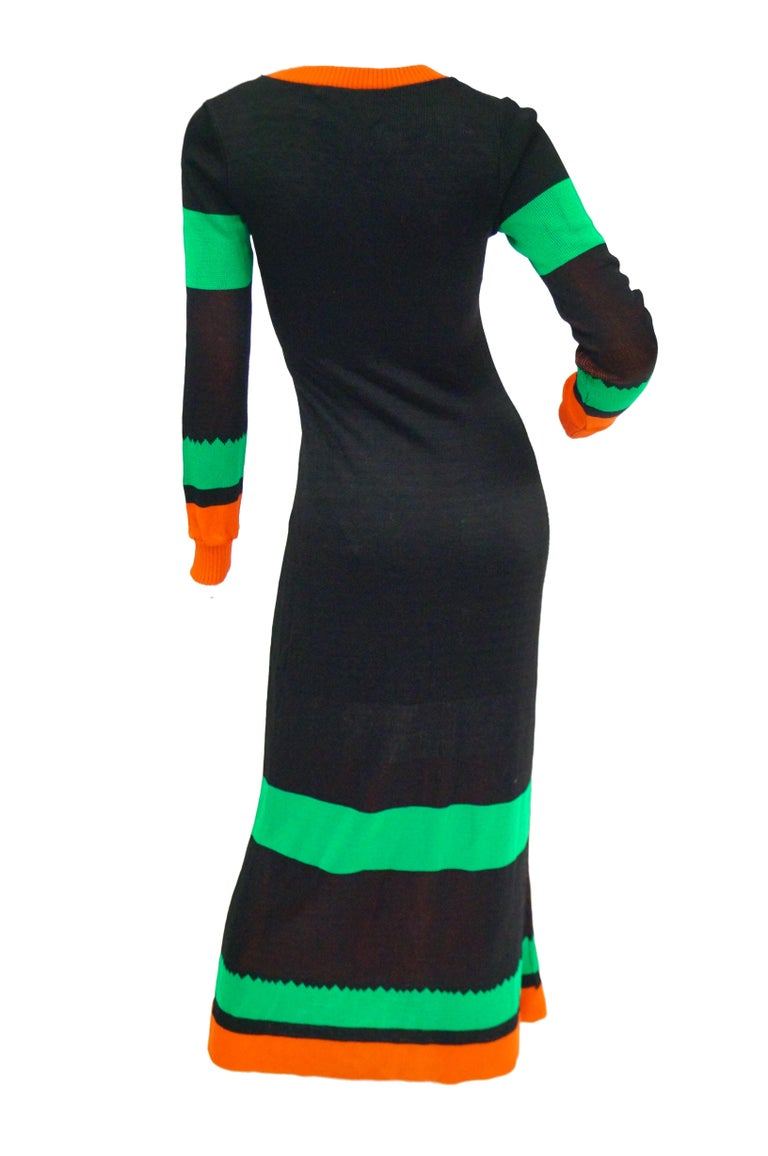 Women's Important 1970s Sant Angelo Biplane Intarsia Knit Maxi Dress - Iconic For Sale